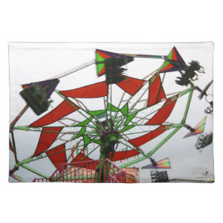 Fair Ride Flying Glider Green and Red Image Place Mat