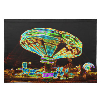 Fair ride Swings Blur Black and Neon Place Mats