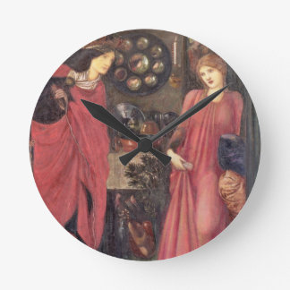 Fair Rosamund and Queen Eleanor (mixed media on pa Wall Clock