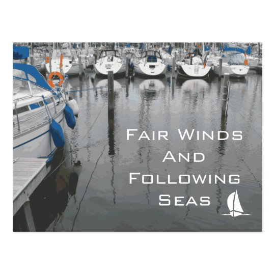 Fair Winds and Following Seas Phrase of Good Luck Postcard