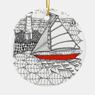 Fair Winds Sailors Prayer Zentangle Style Christmas Tree Ornaments