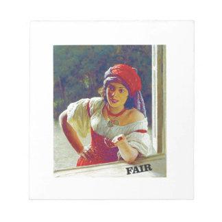 fair woman at window notepads
