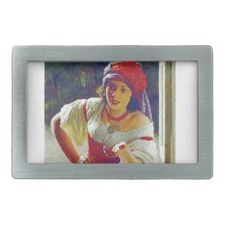 fair woman at window rectangular belt buckle
