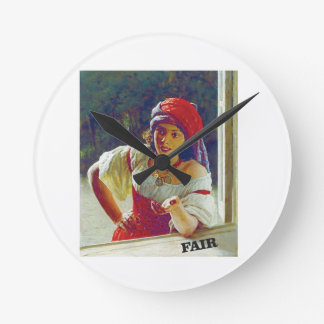 fair woman at window wall clocks