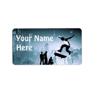 Faire de la planche à roulettes étiquettes d'adresse