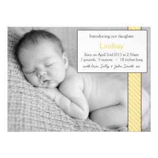 Faire-part de bébé de modèle photo - jaune