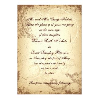 Faire-part de mariage beige brun vintage de feuill
