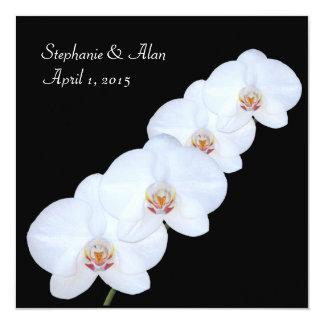 Faire-part de mariage blanc de branche d'orchidée