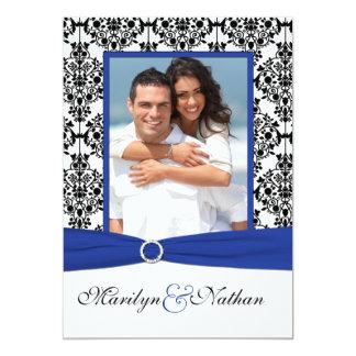 Faire-part de mariage bleu, blanc, noir de photo carton d'invitation  12,7 cm x 17,78 cm