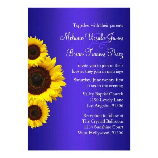 Faire-part de mariage bleu et jaune de tournesol
