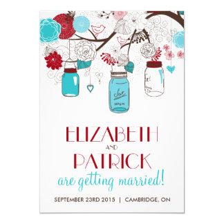 Faire-part de mariage bleu et rouge de vacances de carton d'invitation  12,7 cm x 17,78 cm