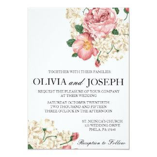 Faire-part de mariage botanique vintage