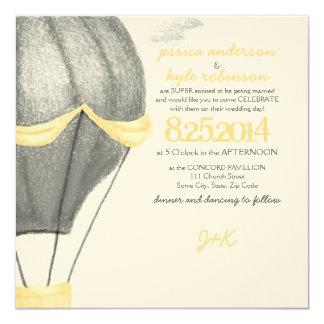 Faire-part de mariage chaud vintage de ballon à