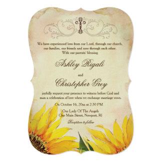 Faire-part de mariage chrétien - tournesols