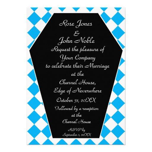 Faire-part de mariage (cyan) d'ivoire de Damier