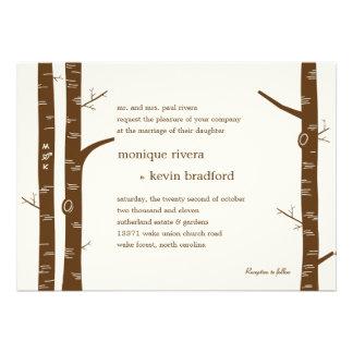Faire-part de mariage d arbres de bouleau - amande