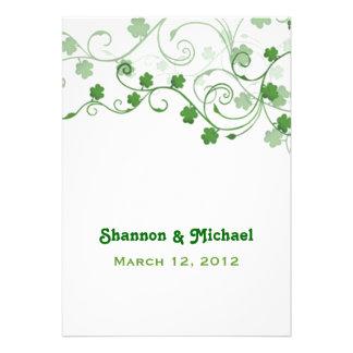 Faire-part de mariage d Irlandais de trèfle