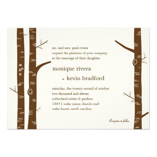 Faire-part de mariage d'arbres de bouleau - amande