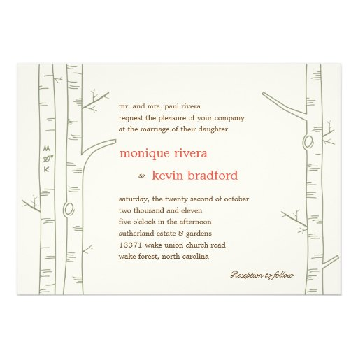 Faire-part de mariage d'arbres de bouleau - coutum