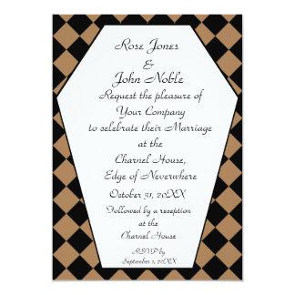 Faire-part de mariage de bois d'ébène de Damier Carton D'invitation 12,7 Cm X 17,78 Cm