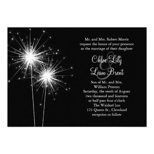 Faire-part de mariage de cierge magique (noir)