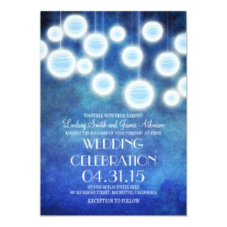 Faire-part de mariage de cru de lanternes de bleu carton d'invitation  12,7 cm x 17,78 cm