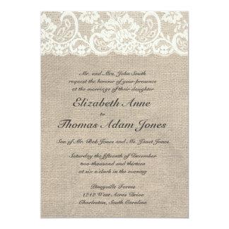 Faire-part de mariage de dentelle ene ivoire et de carton d'invitation  12,7 cm x 17,78 cm