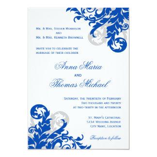 Faire-part de mariage de Flourish de bleu royal et Carton D'invitation 12,7 Cm X 17,78 Cm