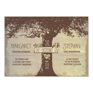 faire-part de mariage de lumières d'arbre rustique carton d'invitation  12,7 cm x 17,78 cm