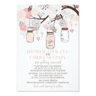 Faire-part de mariage de maçon roses de pots et