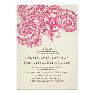 Faire-part de mariage de mod Mehandi Carton D'invitation 12,7 Cm X 17,78 Cm