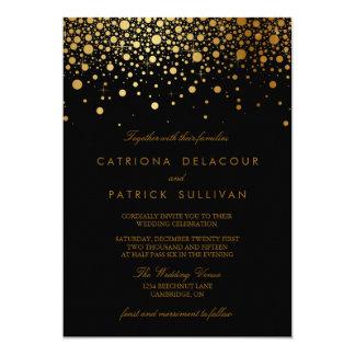 Faire-part de mariage de noir de confettis de carton d'invitation  12,7 cm x 17,78 cm