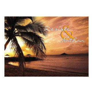 Faire-part de mariage de plage de coucher du solei