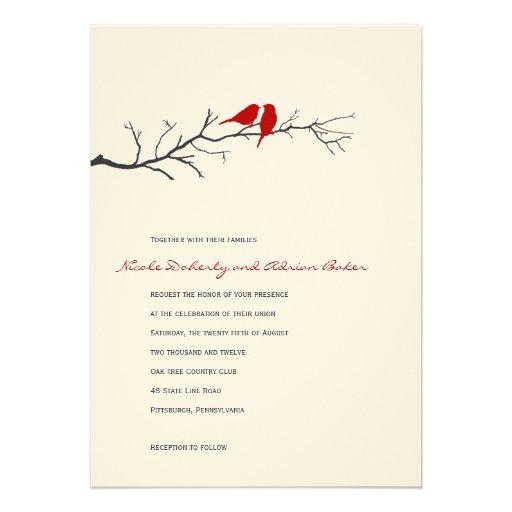 Faire-part de mariage de silhouettes d'oiseaux - r
