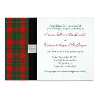 Faire-part de mariage de tartan de MacGregor Carton D'invitation 12,7 Cm X 17,78 Cm