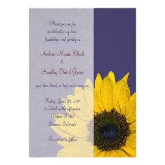 Faire-part de mariage de tournesol de jaune de ble