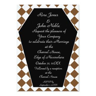 Faire-part de mariage d'ivoire de Damier (Brown)