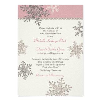 Faire-part de mariage en ivoire rose d'hiver de carton d'invitation  12,7 cm x 17,78 cm