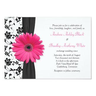 Faire-part de mariage floral blanc noir rose de