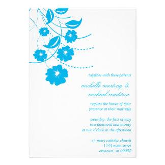 Faire-part de mariage floral de Flourish bleu bla