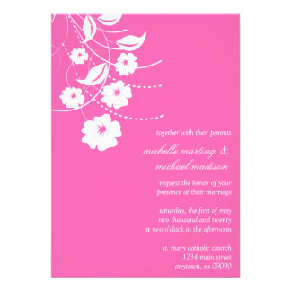 Faire-part de mariage floral de Flourish rose fon