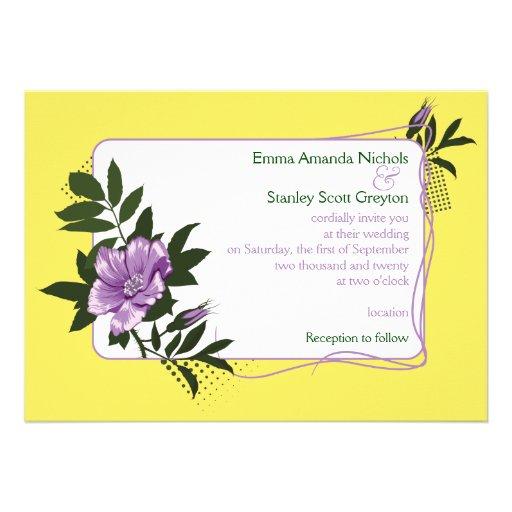 Faire-part de mariage floral de jaune sauvage pour