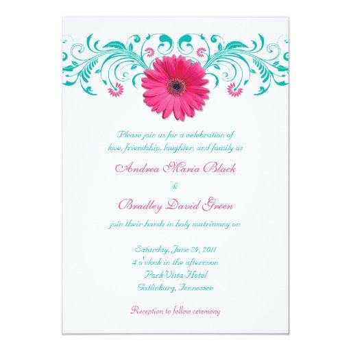 Faire-part de mariage floral de marguerite rose de carton d'invitation  12,7 cm x 17,78 cm