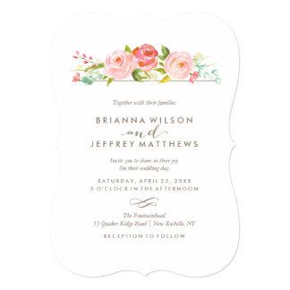 Faire-part de mariage floral de roseraie