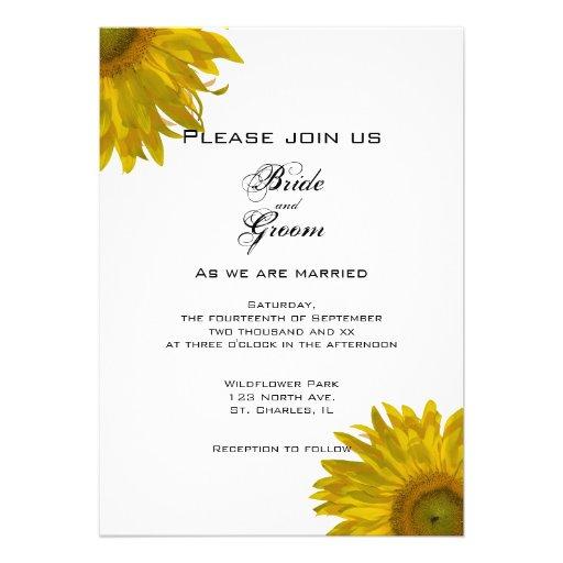 Faire-part de mariage jaune de tournesol