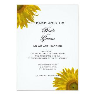Faire-part de mariage jaune de tournesol carton d'invitation  12,7 cm x 17,78 cm