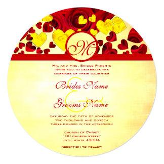Faire-part de mariage jaune et rouge de roses d'or carton d'invitation  13,33 cm
