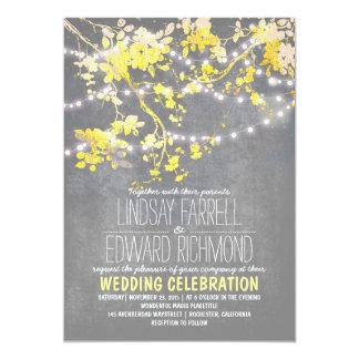 Faire-part de mariage jaune gris avec des lumières