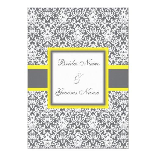Faire-part de mariage (jaune) gris de damassé