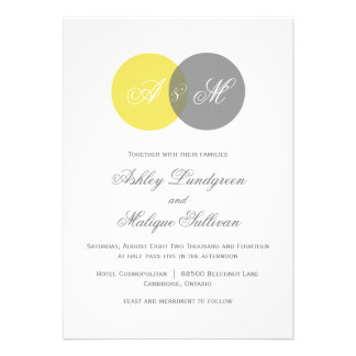 Faire-part de mariage jumeau jaune et gris de mono